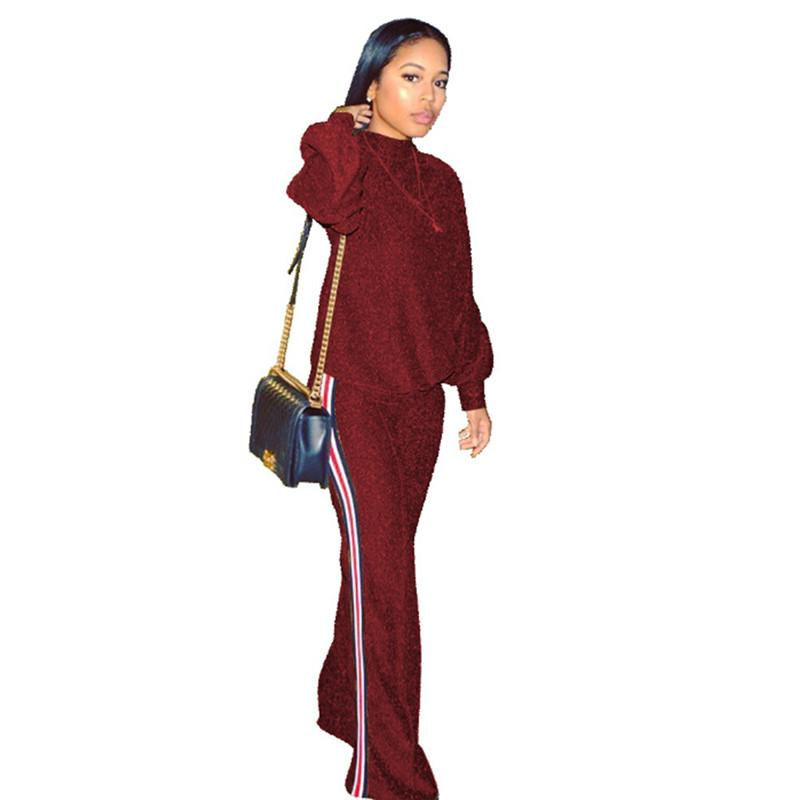 laday women suit See Through Sweatshirt Tops And Wide Leg Pants Suits Two Piece Set Gold Glitter Turtleneck Tracksuit Autumn