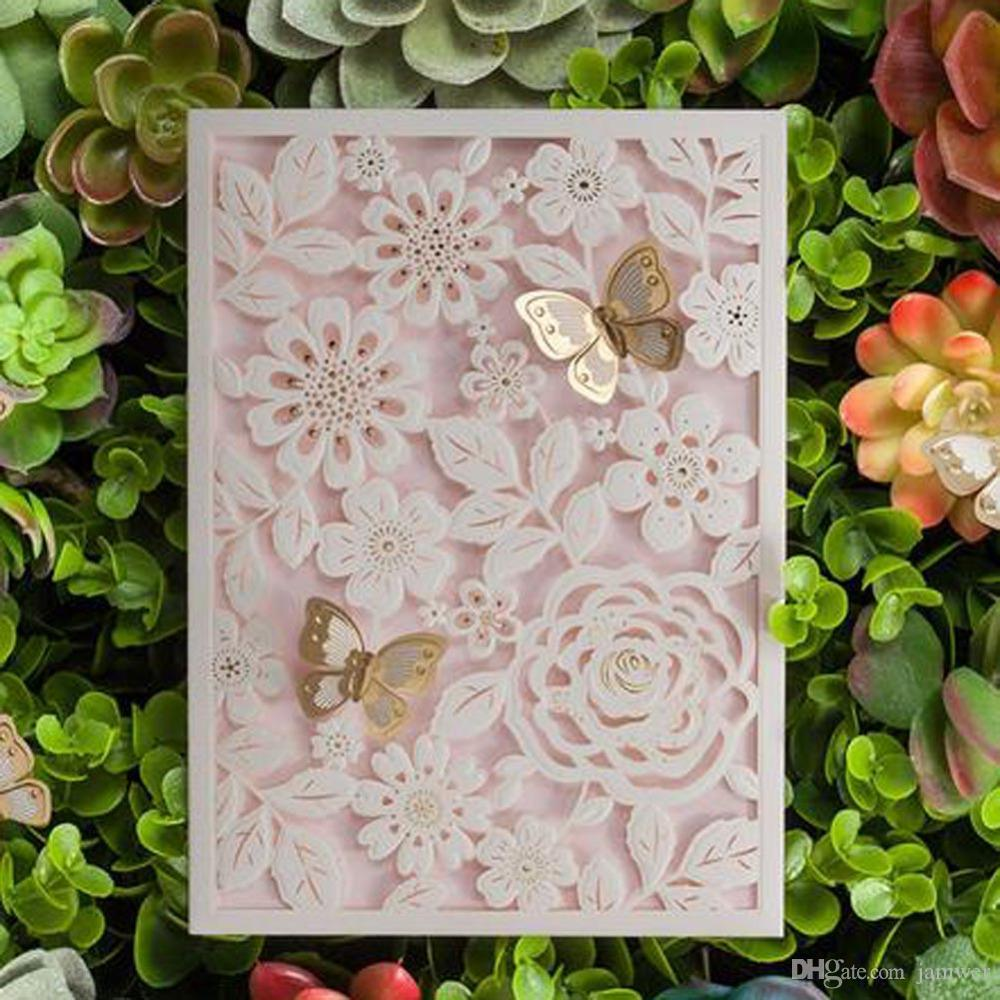 Wholesale 3d Laser Cut Butterfly Flowers Wedding Invitations Cards