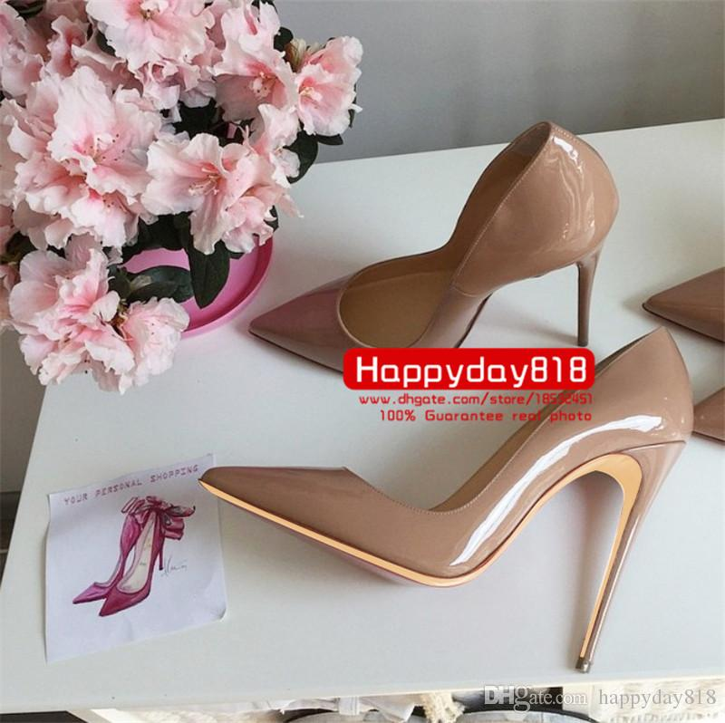 Gastos de envío gratis nuevo estilo sexy Lady Nude charol punta tacones altos zapatos botas bombas 120 mm 100 mm cuero genuino