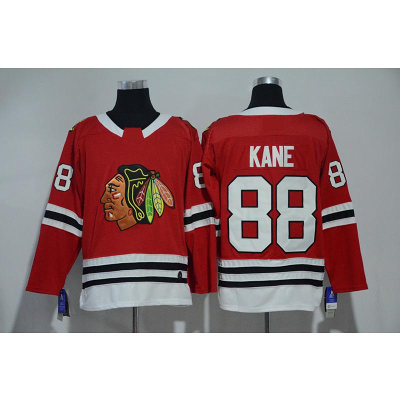 detailed look 56ef9 8944b Mens Chicago Blackhawks Patrick Kane Home Away Red White Hockey Jersey All  Players In