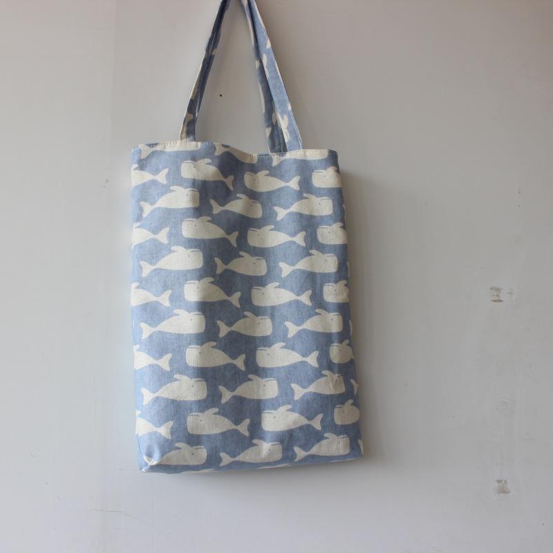 Marka Yeni El Yapımı Pamuk Keten Kullanımlık Alışveriş Çantası Taşıma Tote Baskı Balinalar Açık Mavi D02