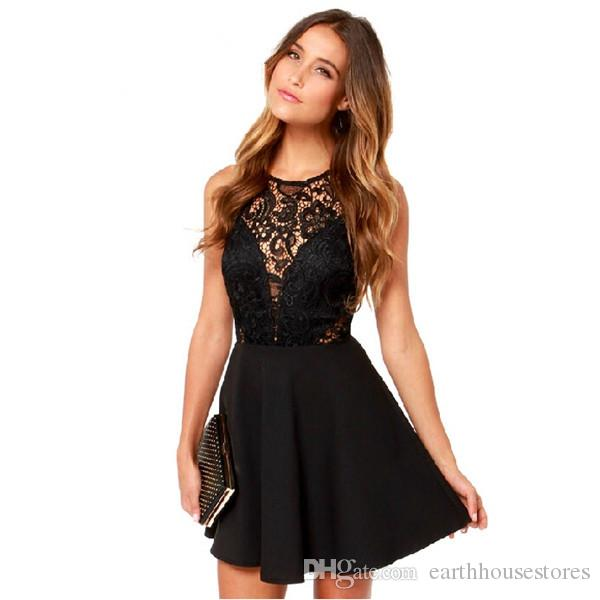 35e918ff7 New Product Lace Hollow Out Black Camisole Night Club Sexy Backless Dress  Sleeveless Woman Mini Short Skirt Women Black Dresses Casual Cocktail Dress  From ...
