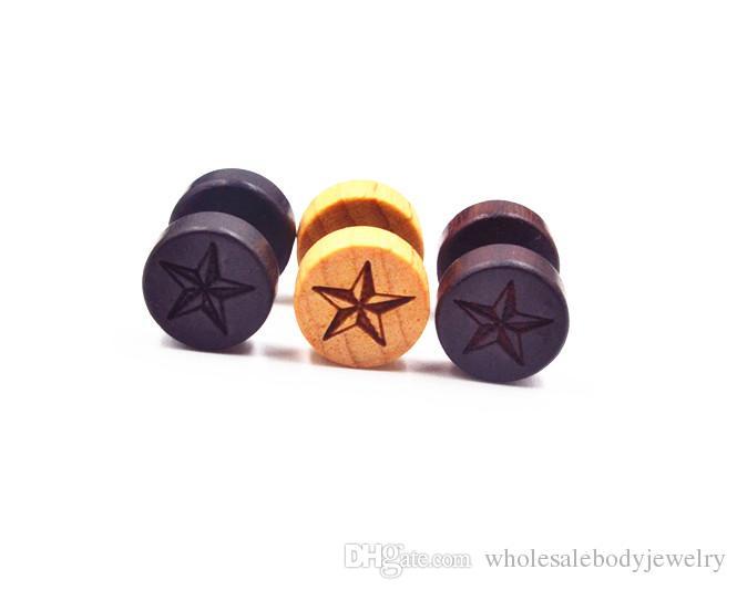 bijoux de corps piercing bois faux bouchons d'oreille illusion oreille cierges tunnel de tricheur tunnels oreille goujons / boucle d'oreille 8mm étoile / feuille de pot / YINGYang Logos NOUVEAU