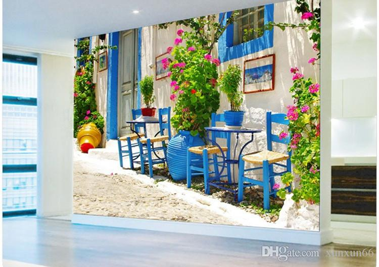 Custom 3D photo wallpaper Mediterranean architecture mural wall paper background theme Hotel Cafe Bar wall mural painting