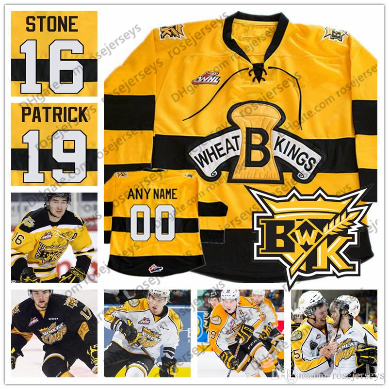 Custom Brandon Wheat Kings Ice Hockey  19 Nolan Patrick 16 Mark Stone Stitched  Any Number Name Black Yellow White WHL Jerseys S 4XL UK 2019 From  Rosejerseys ... 432d8678e