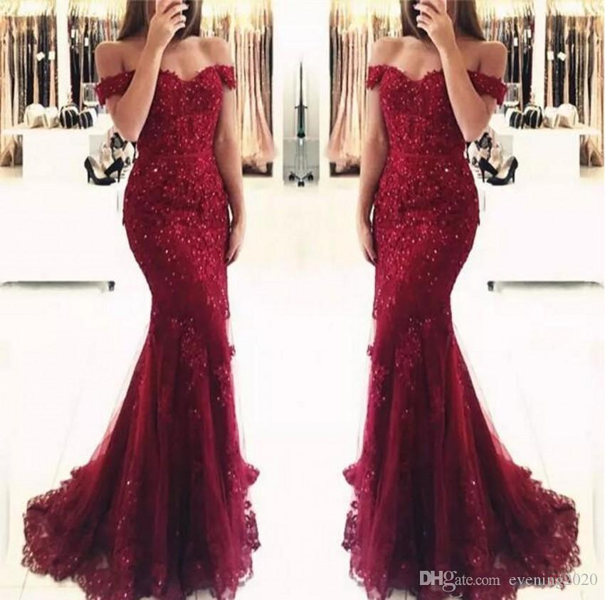 c5c3d166e5c Junoesque Burgundy Lace Mermaid Prom Dresses Appliques Off The Shoulder  Beaded Sequins Long Prom Gowns Evening Dresses Prom Dress Website Prom  Dresses ...