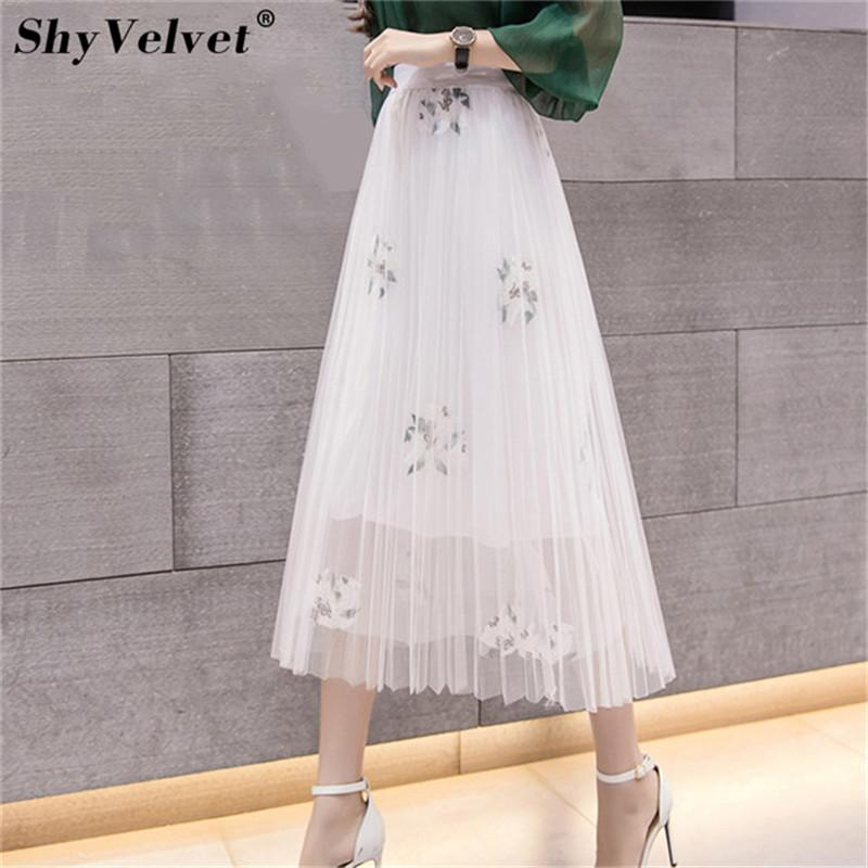 30e3f3ae94a 2019 Pleated Mesh Skirt Elastic High Waist Tulle Skirts Womens Long Tutu Skirt  Female Floral Embroidery Jupe Longue Pink White Black From Yoursuger