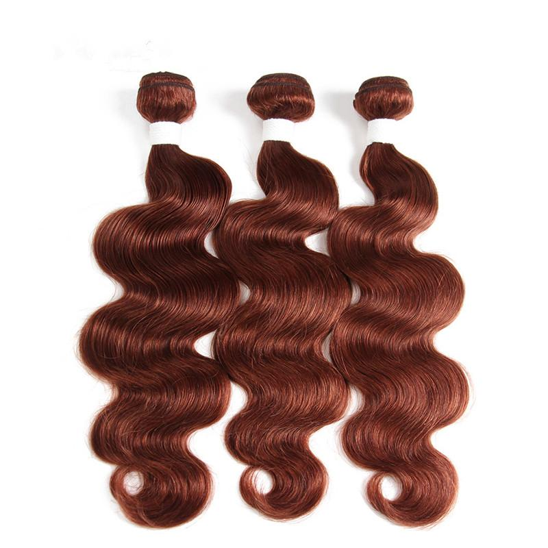 لحمة الشعر الداكن الماليزي الداكن الماليزي مع إغلاق أمامي موجة الجسم # 33 النحاس الأحمر العذراء الشعر حزم صفقات مع كامل الرباط أمامي 13x4