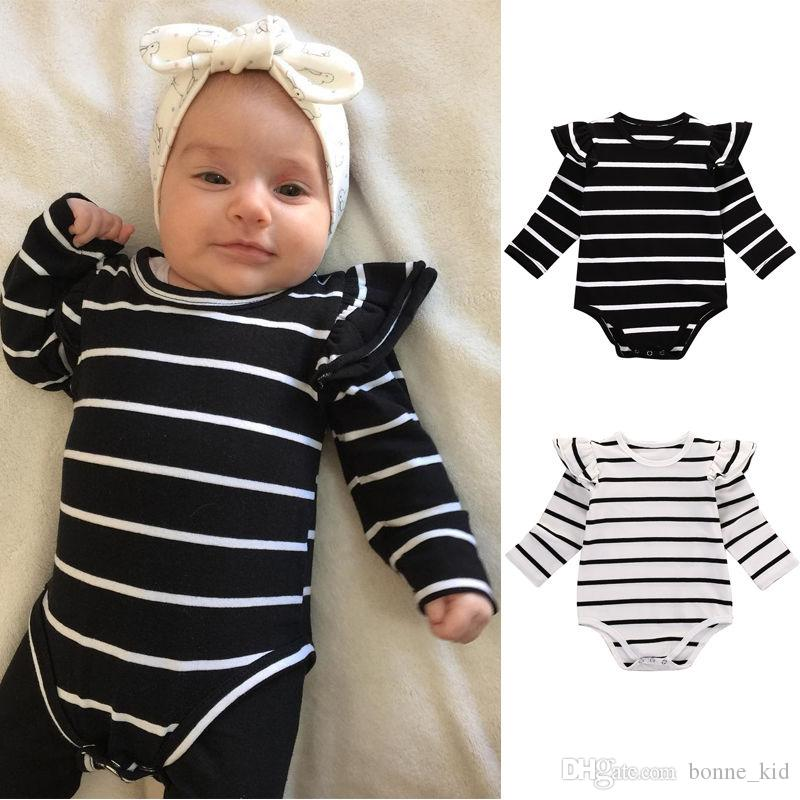 1f5703bb3b82 2019 Hot Newborn Infant Baby Girl Striped Onesies Romper Black White ...