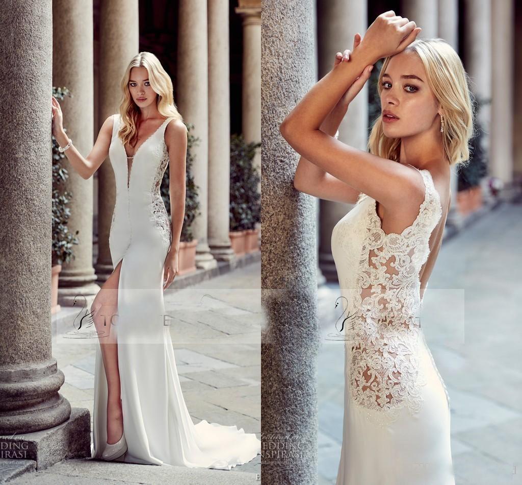 Graceful Sheath Wedding Dresses 2015 Summer A Line V Neck: Modern Sheath Slim Greek Wedding Dresses Sexy Deep V Neck