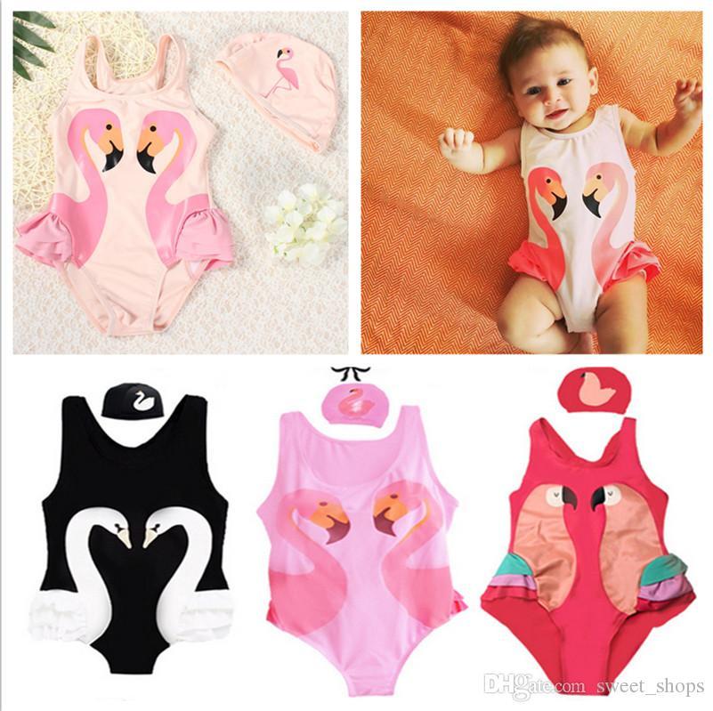 ab537307f7 Großhandel Kinder Mädchen Bademode INS Cartoon Gedruckt Sommer Ein Stück  Schwimmen Anzug Flamingos Schwan Parrot 3D Gedruckt Badeanzüge Sommer  Schwimmen ...