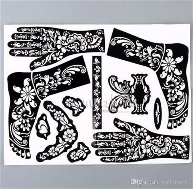 Großhandel 1 Blatt Henna Tattoo Vorlagen Hände Füße Bein Arm
