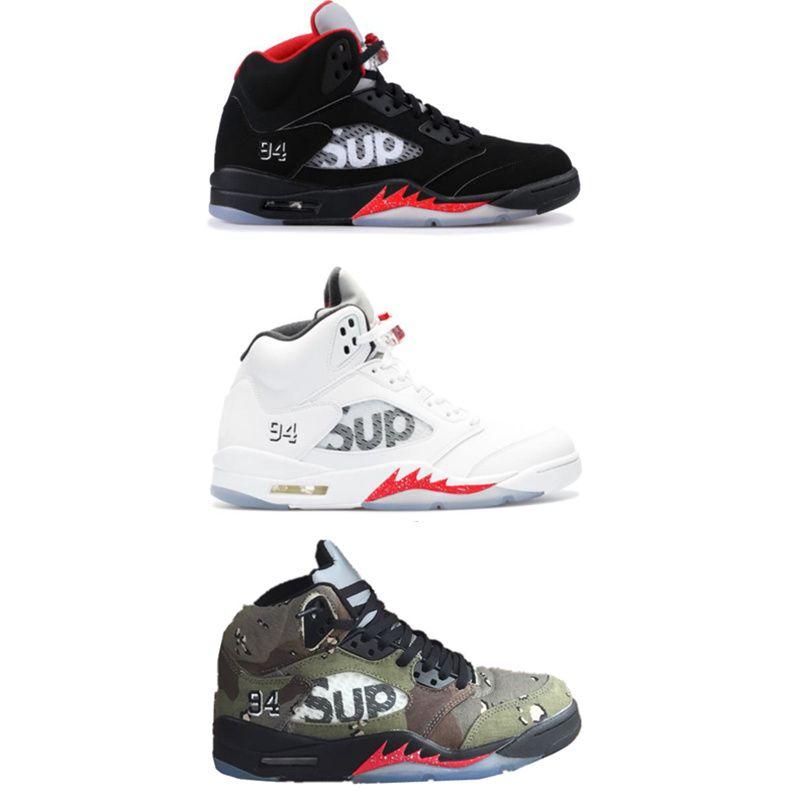 e11cea74e16 Compre 2018 Nuevo Nike Air Jordan 5 5s SUP Negro Camo Blanco Zapatos De  Baloncesto Para Hombre 5 Zapatillas De Deporte Sup Para Hombre Zapatillas  Deportivas ...