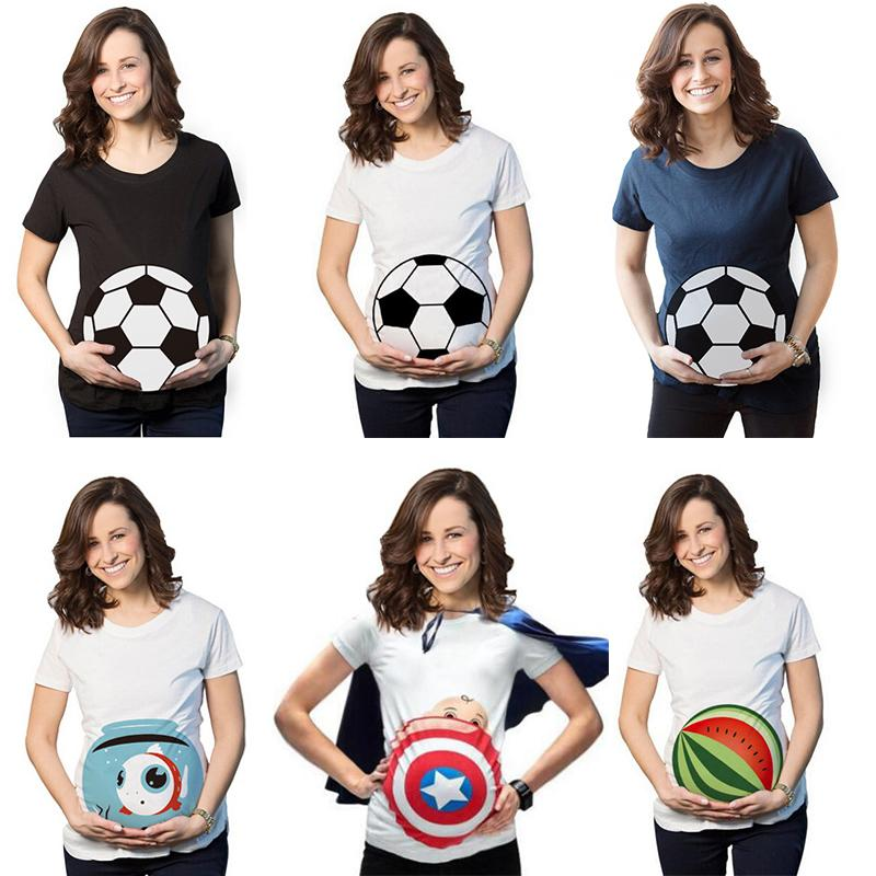 b9076869b Compre Maternidad Embarazada Madre Verano De Las Mujeres Camisetas Camiseta  Divertida Embarazo Camiseta Camiseta Más El Tamaño 2018 Mamá Embarazada  Camisa ...