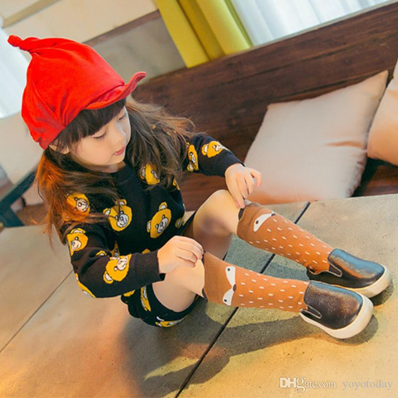 Autumn Winter Hot Cute Kids Fox Socks Bear Pancake Cartoon Girls Knee High Socks Baby Long Socks New Hot Sale