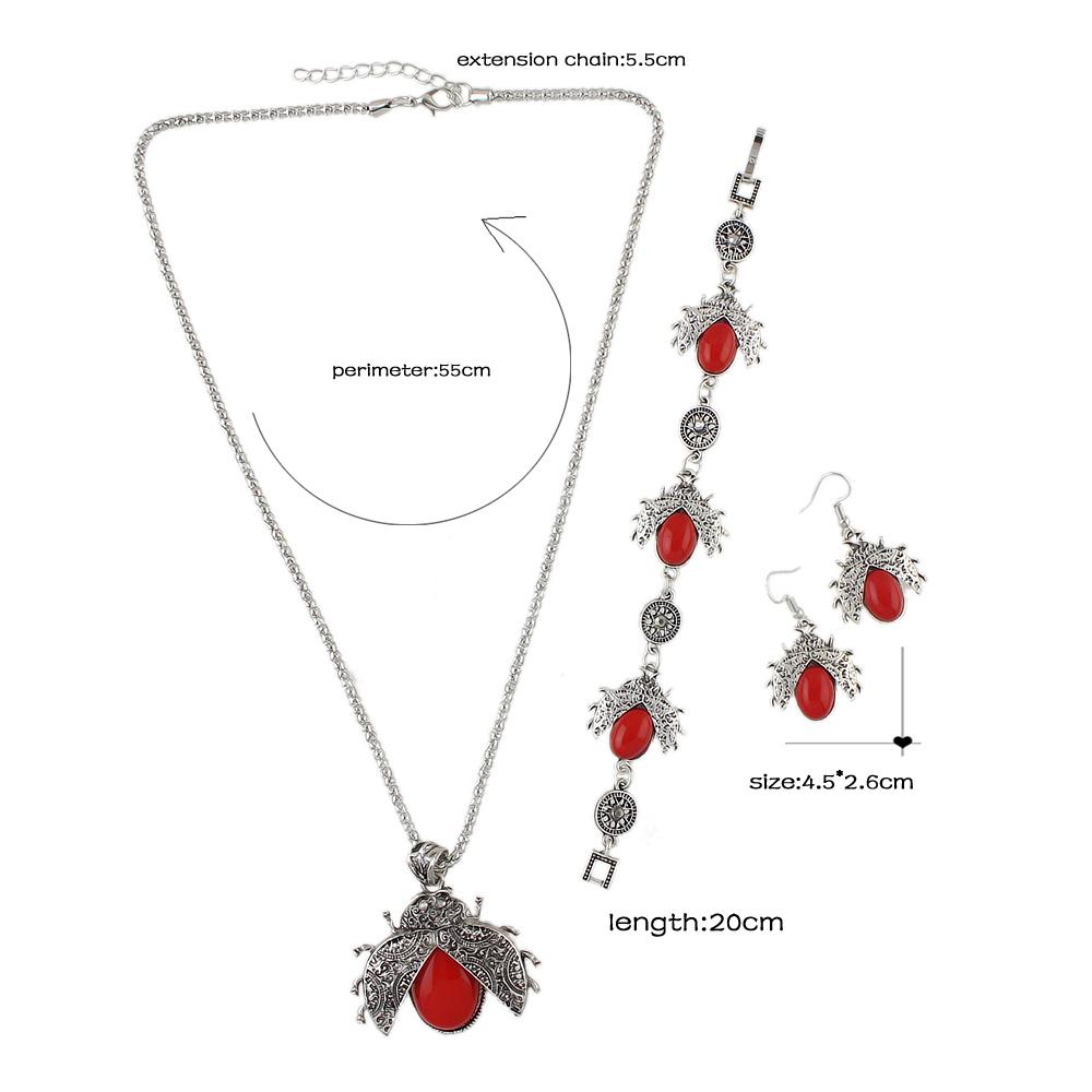 FANHUA Vintage Jewelry Sets Antique Silver Color with Red Blue Black Beads Bee Pendant Necklace Drop Earrings and Bracelet