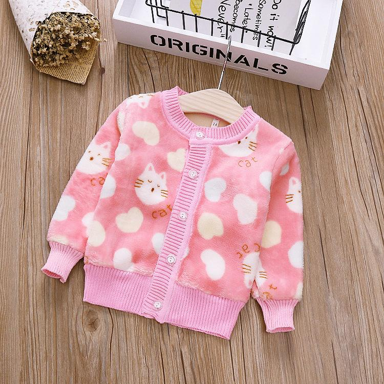 Exactlyfz Kids Girl Sweater Knitted Cotton Sweaters Coat Cardigans