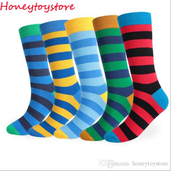 e1139658be5 2019 Cotton Men S Socks Knee High Long Autumn Winter Cool Sock For Men  Thicken Striped Pattern High Stocking From Honeytoystore