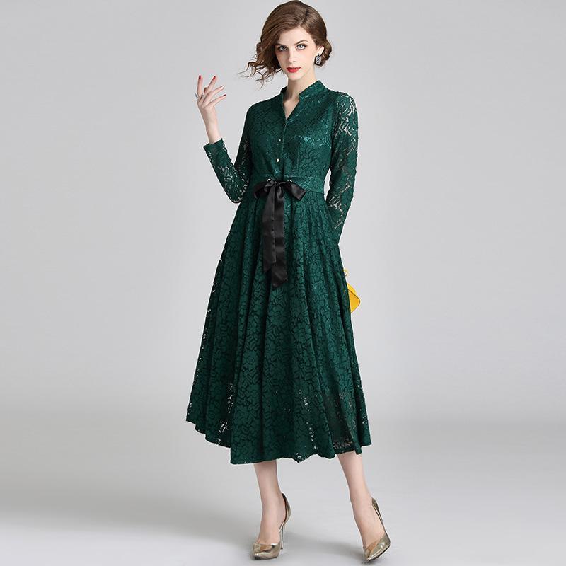 Acquista Abito Plissettato Vintage Party Lace Dress Slim Fit Stand Neck  Manica Lunga Con Cintura Abiti A Tunica A  49.25 Dal Sinofashion  b7ac8e4741d