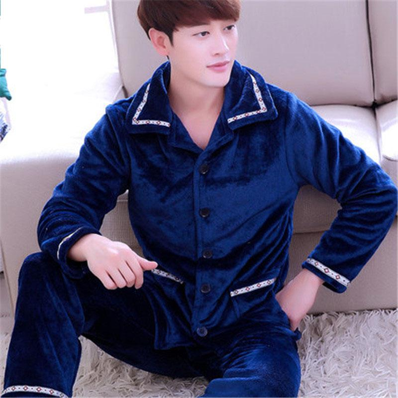 2018 Winter Spring Keep Warm Thick Coral Fleece Men Pajamas Sets of Sleep Tops & Bottoms Flannel Sleepwear Thermal Nightclothes