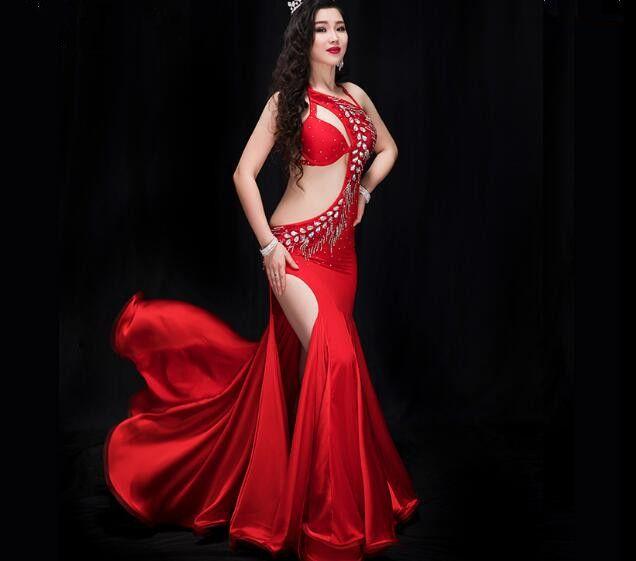 707146b24ea Acheter Femmes Robes De Danse Orientale Rouge Danse Du Ventre À La Main  Abaya Sexy Perlé Saidi Costume Galabya Lingerie Royal Blue De  134.24 Du  Honry ...