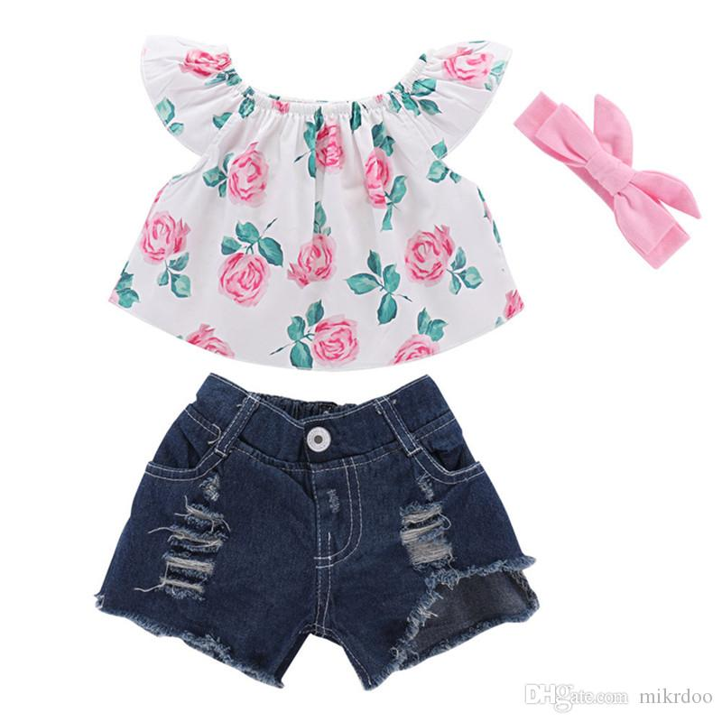 61fe9c7aa Compre Mikrdoo Kids Baby Girl Conjunto De Ropa Sin Mangas Floral Impreso Top  Fashion Ripped Holes Short Jeans Bow Diadema Outfit Toddler Girl Set A  $15.88 ...