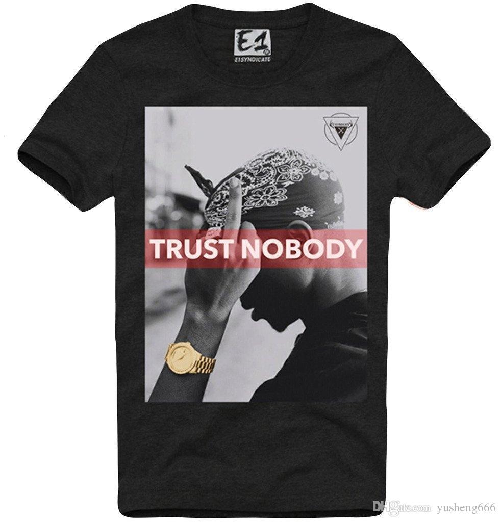 Cheap T Shirt Design Design Crew Neck Mens T Shirt 2pac Trust No One