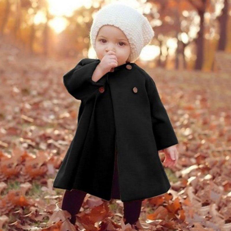 reputable site 29e86 bda2c cappotto per ragazza lana inverno 2018 abbigliamento per bambini coreano  russo 6 12 18 24 mesi 2 3 4 5 anni bambini rosso nero kaki vino rosso