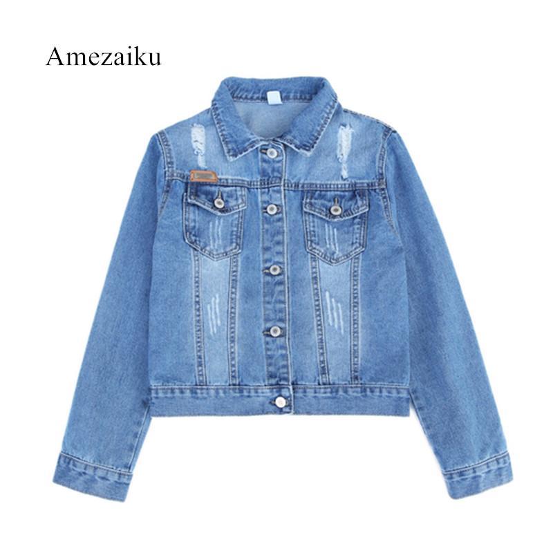 666818464d7 2018 Autumn Spring Denim Jacket For Women Plus Size Long Sleeve O Neck  Short Jeans Jacket Women Denim Coat Ladies Coats Cheap Leather Jackets  Baseball ...