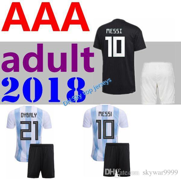 Compre 2018 World Cup Kit Adulto MESSI DYBALA Homens Casa Fora Argentina  Camisa De Futebol AGUERO DI MARIA HIGUAIN 2018 Camisas De Futebol Para  Crianças De ... 498968fdc5f82