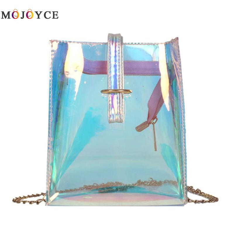 15ac842a9f3e Women Transparent Clear PVC Small Messenger Bags Female Lady Laser Holographic  Shoulder Bags Sac Femme Bandoulier Designer Bags Wallets For Women From ...