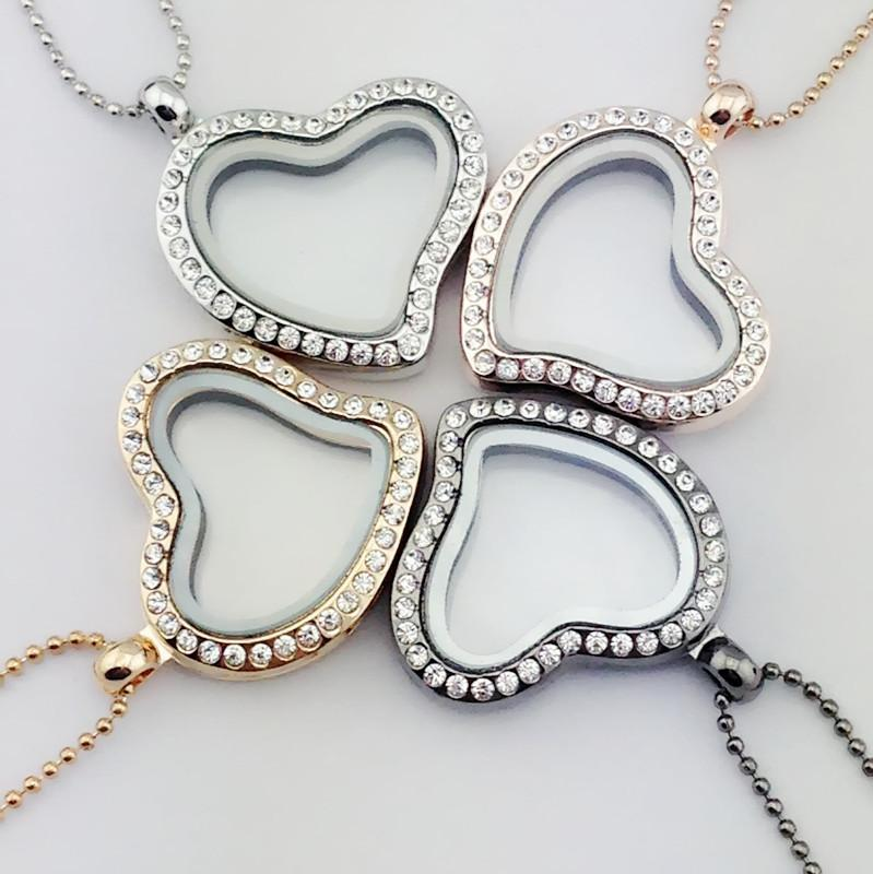 2018 New Crystal Heart Floating Locket Necklace Silver Gold Love ...