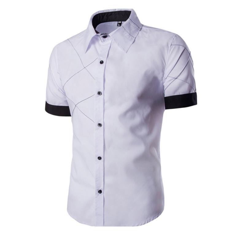 48d3073141 Compre Camisa A Rayas MUQGEW Camisas De Vestir Informales Para Hombres  Camisa A Rayas Con Mangas Cortas Para Hombres Camisa A Rayas Negra De Manga  Larga ...