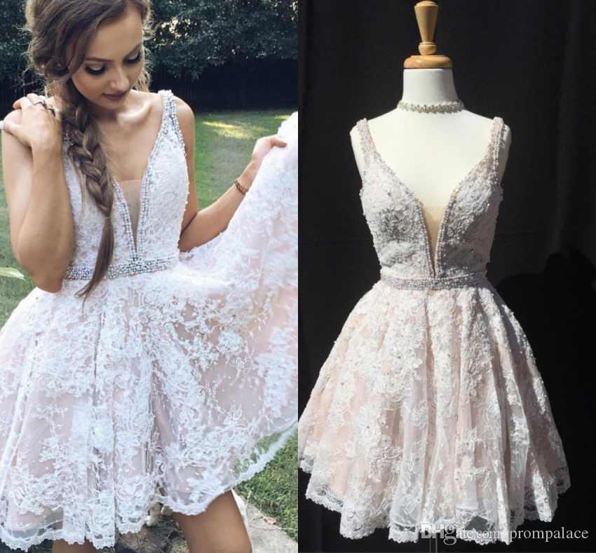 8ba6a149501 White Lace Homecoming Dresses Sleeveless V Neck With White Pearls Formal  Cocktail Party Wear Graduation Gowns Homecoming Dress Sale Homecoming Dress  Short ...