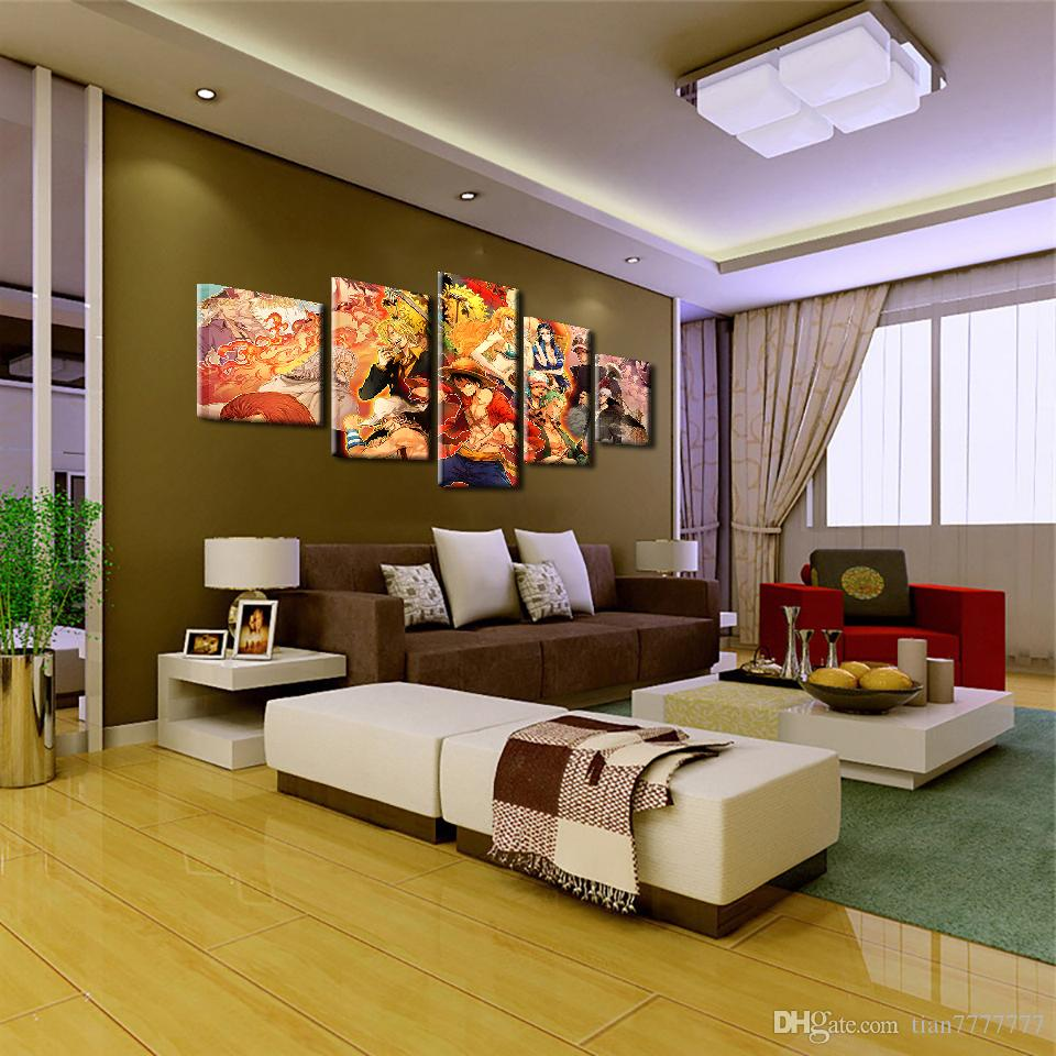 Fashion Home Decoration Oil Painting On Canvas 5 Panel No Frame Anime One Piece Characters Picture For Children Room Wall Print Poster