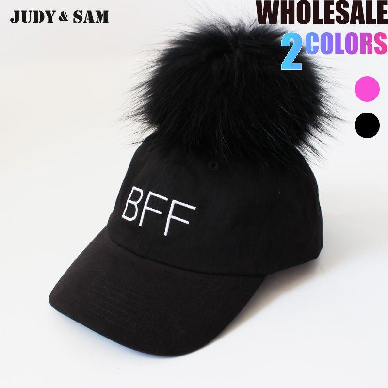 180336390 Men Baseball Caps Cotton Hip Hop Removeable Big Real Raccoon/Fox Fur Pompom  On Top 2017 Snapback Hat Black White Color