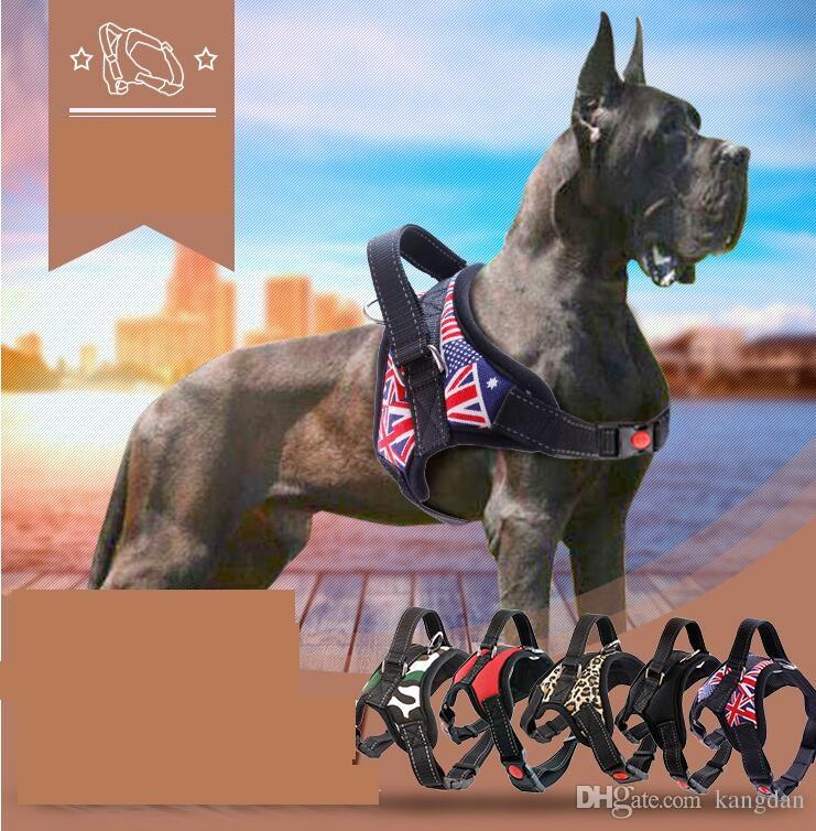 Macio Ajustável Cão Harness Vest Collar Grande Cão Corda Collar Alça de Mão Pet Corda de Tração para Pequeno Médio Grande Cães