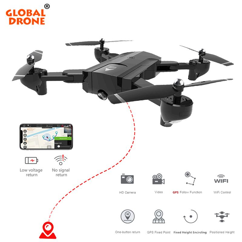 Global Drone RC Helicopter Fly Camera HD Foldable FPV Drone Profissional  GPS Quadcopter Follow Me Drones With Camera HD