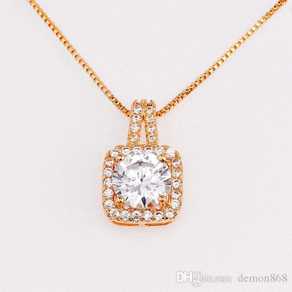 4c5e530f493 Rose Gold Necklace Chain with Square Cubic Zirconia Pendant Womens ...