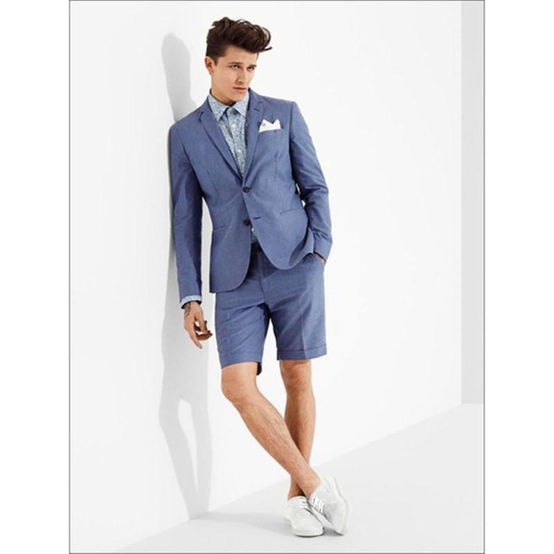 b208b69e6acb 2018 neuesten Hochzeit Kingsman Mantel blau Casual Männer Anzug mit kurzer  Hose Slim Fit 2 Stück Smoking benutzerdefinierte Herren Anzüge Terno ...