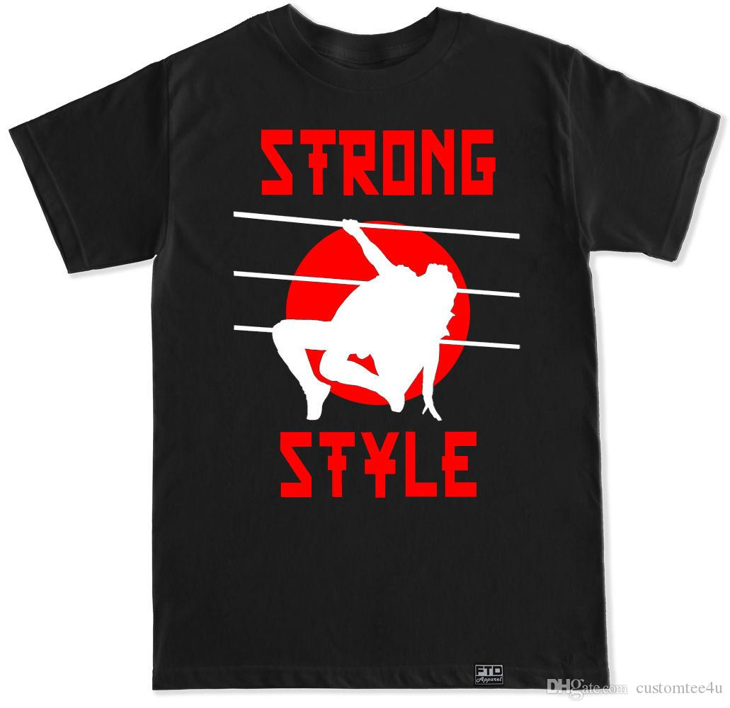 Strong Style Nakamura Reigns Wrestling New Day Shinsuke Rollins Balor Raw Tshirt Tee Shirt For Men Casual Short Sleeve Crewneck Cotton Big S
