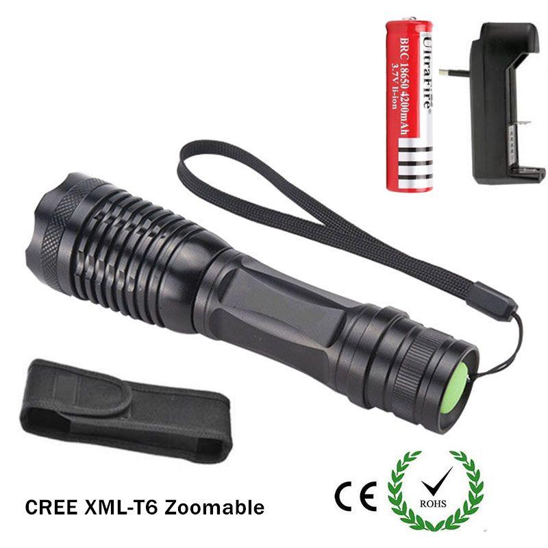 Ultrafire Flashlight Lights Adjustable Zoom CREE XM-L T6 LED Flashlights  Torch Lamp Light with 18650 battery