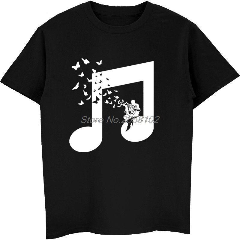 Accordion Butterfly T Shirts Men Beautiful Melody Flat Art Design College  Music T-Shirt For Youth Man Team Club Tshirt Harajuku