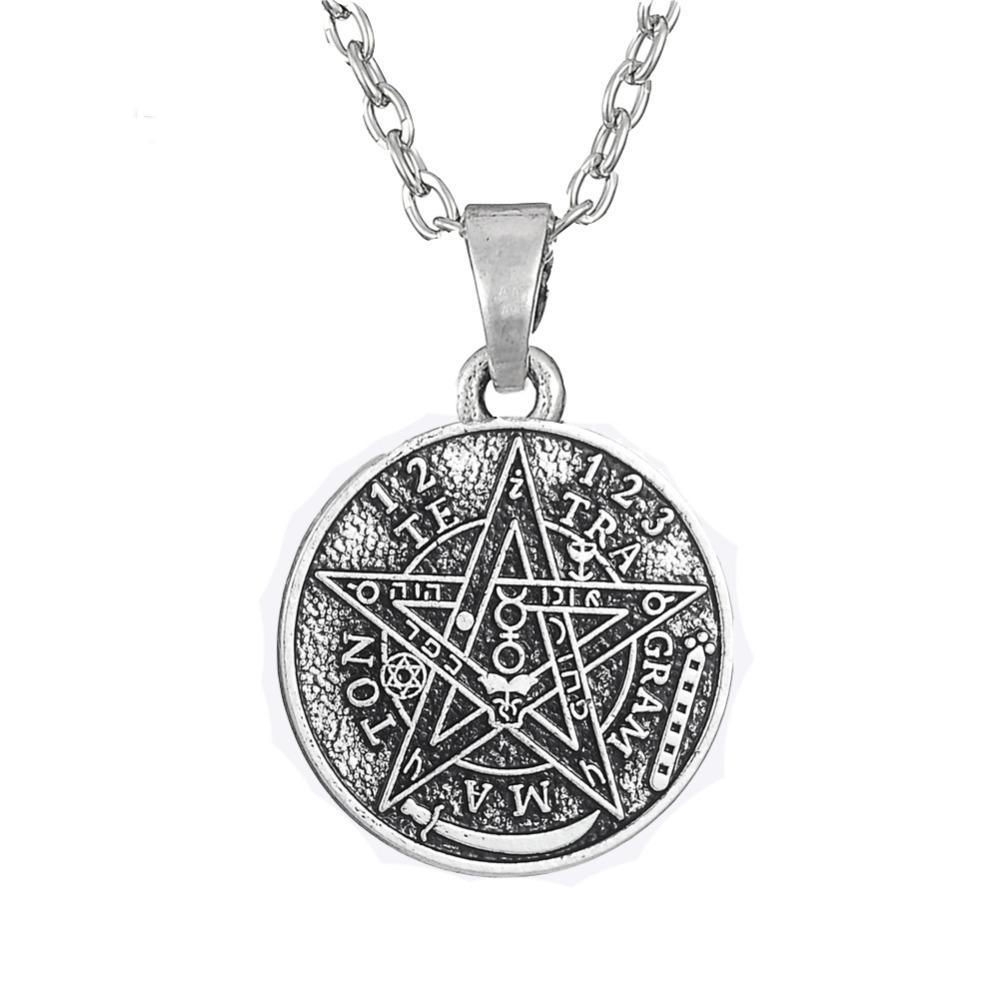 Wholesale whole saledawapara satan tetragrammaton pentagram pentacle wholesale whole saledawapara satan tetragrammaton pentagram pentacle pendant necklace wiccan pagan jewelry antique silver link chain christmas gift gold aloadofball Images