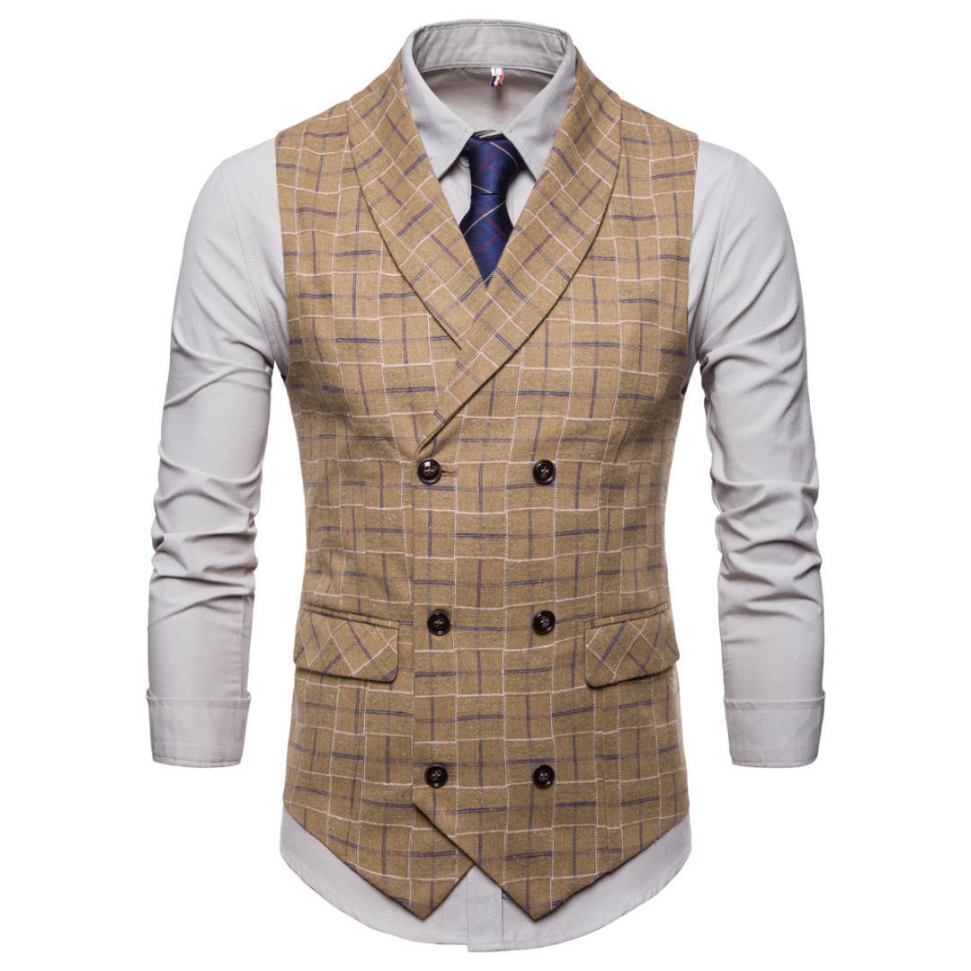 d5a99effd6 2018 Suit Vest Men Jacket Sleeveless Vintage Tweed Vest Fashion Spring  Autumn Plus Size Waistcoat Plaid