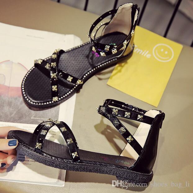 Summer new fashion wild trend college wind women's sandals flat metal Liu nail sandals wholesale luxury high quality