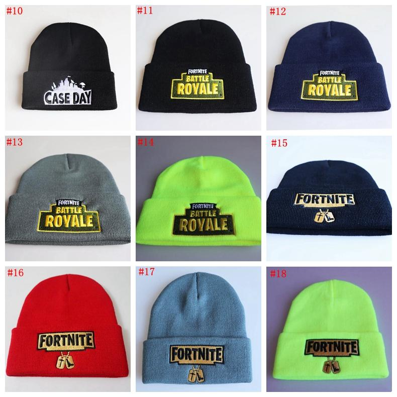 Compre 13 Estilos Fortnite Battle Knitted Hat Moda Hip Hop Bordado ...