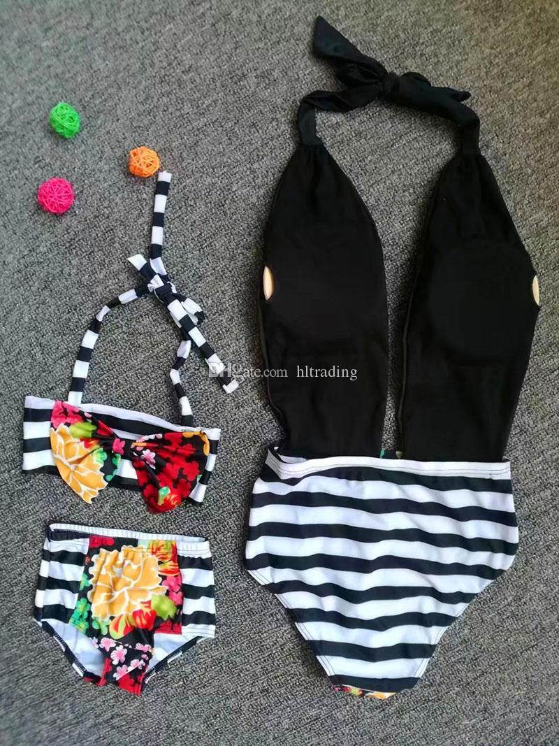 Family Matching Outfits Floral Mother and daughter swimwear outfits 2018 Mother and daughter Swimsuit Striped flowers Bikinis C3498
