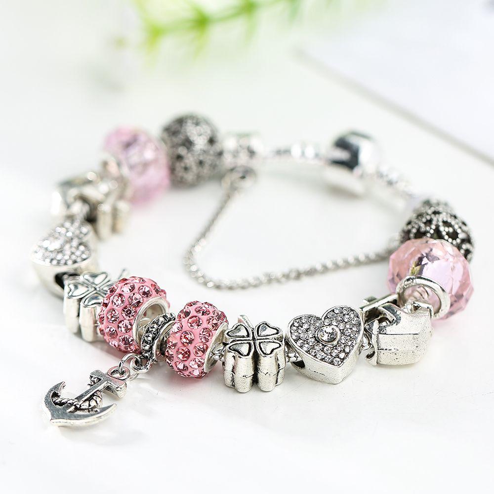 Ancre De Mode Balancent Charme Bracelet Lucky Grass Coeur Cristal Charmes Perles Fit Pandora Diy Making Femme Bijoux Accessorise