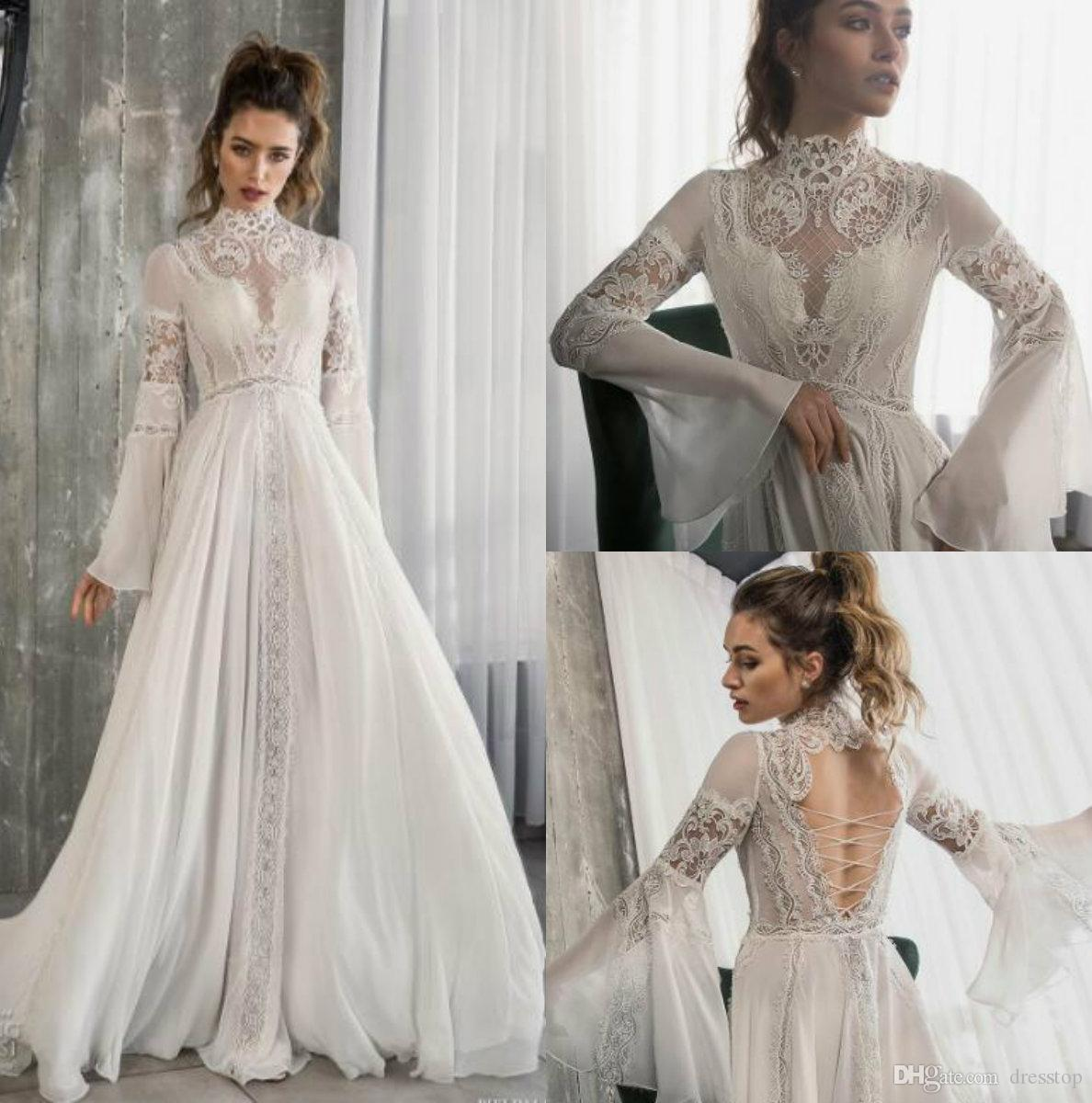 632e242cfb8eb Riki Dalal 2018 Bohemian Lace Wedding Dress High Neck Long Sleeve Bridal  Gowns Chiffon vestido de novia Lace-up Backless Wedding Gowns